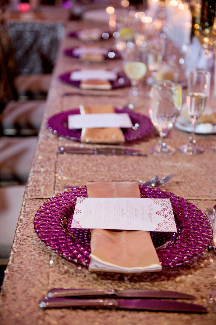 Fuchsia Chargers Atop Sequin Linens