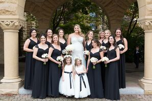 Sophisticated Black Chiffon Bridesmaid Dresses