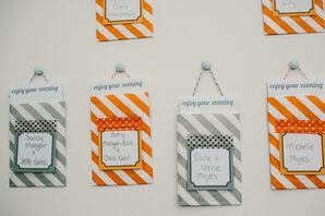 Orange and Silver Striped Escort Cards