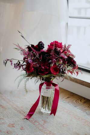 Burgundy Bouquet with Red Ribbon