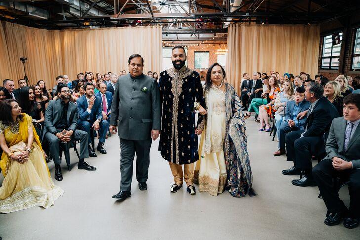 Hindu Groom Walking Parents Down the Aisle