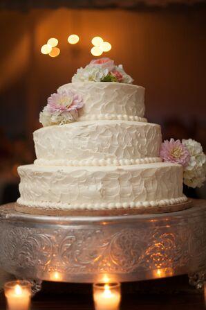 Three-Tier Flower-Decorated White Cake