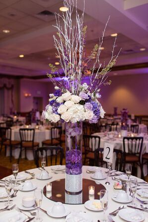 Tall Purple and Ivory Centerpieces With Sparkle