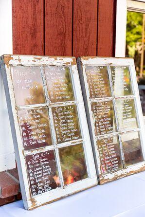 Distressed White Wood Windowpane Escort Board