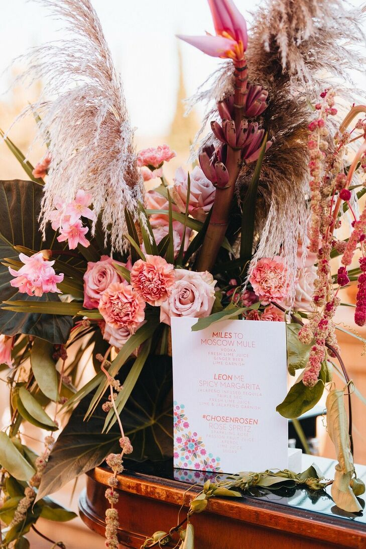 Whimsical, Vintage Pink Flower Arrangement with Grasses, Roses and Carnations