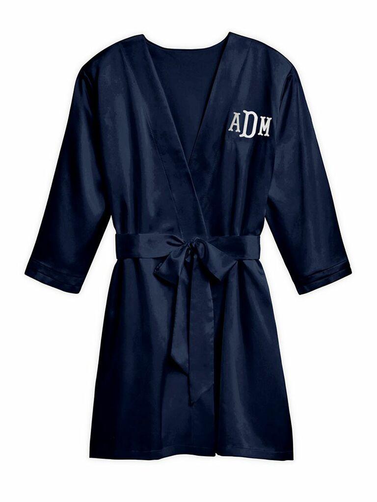 navy personalized satin kimono robe