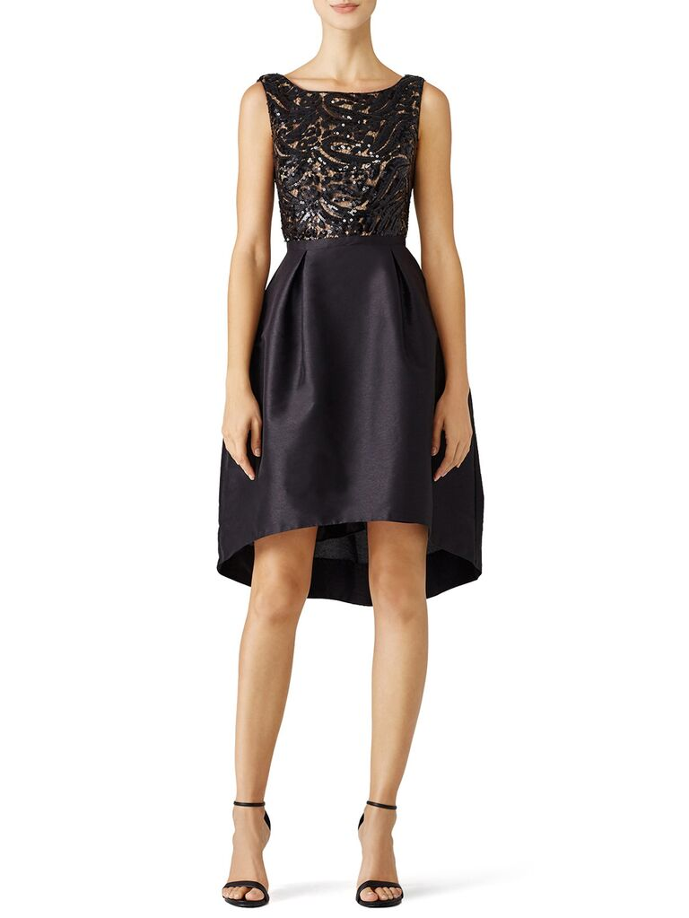 Black mini dress with full skirt and embroidered bodice
