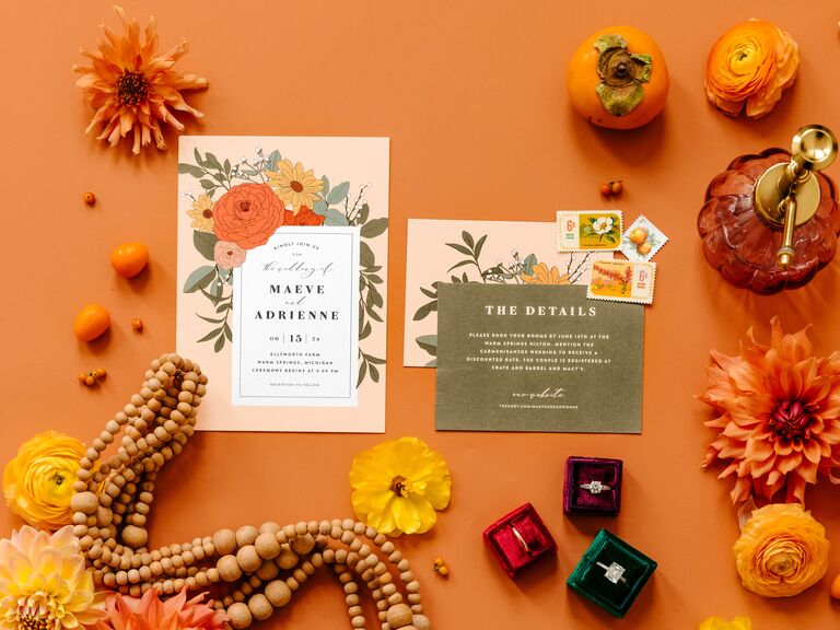 Colorful orange and floral wedding invitation suite