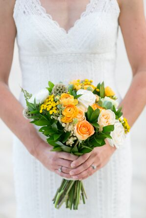 Orange and Yellow Wildflower Bouquet With Succulents