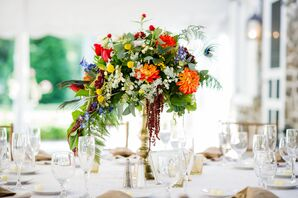Colorful Reception Table Centerpiece Garde Blooms