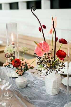 Anthurium and Ranunculus Centerpieces at Prospect House in Dripping Springs, Texas