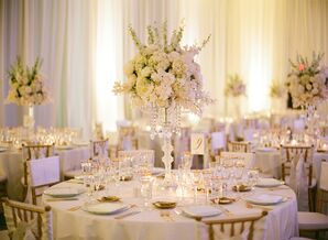 Rose and Orchid Centerpieces on Crystal Candelabras