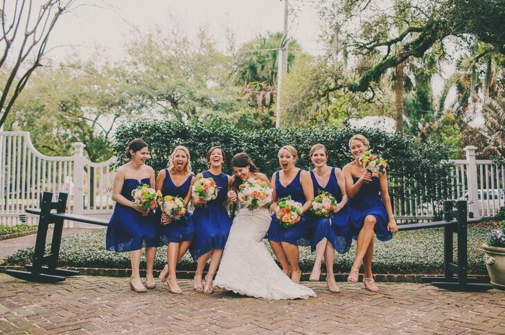 Each bridesmaid selected a different flattering silhouette for their dress in the same navy blue color. The J.Crew cocktail-length dresses were effortlessly elegant and matched the navy blue dinner linens to perfection.