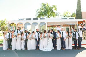 White Bridesmaid Dresses, Hawaiian Leis for Groomsmen