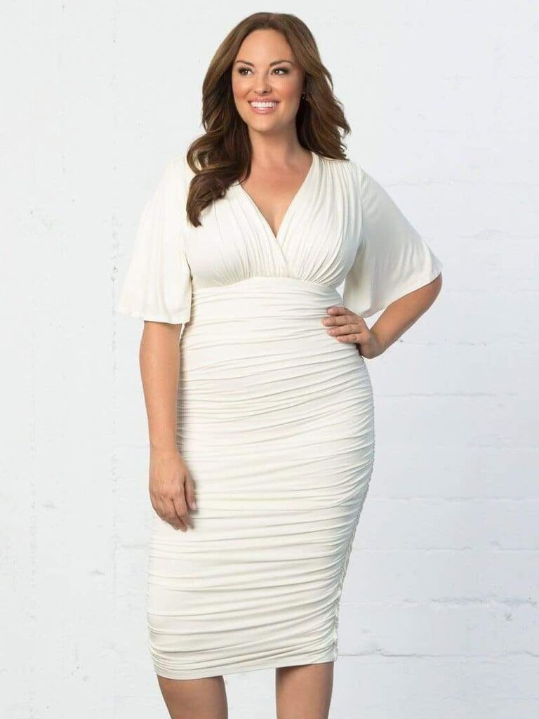 Ruched plus-size white engagement party dress