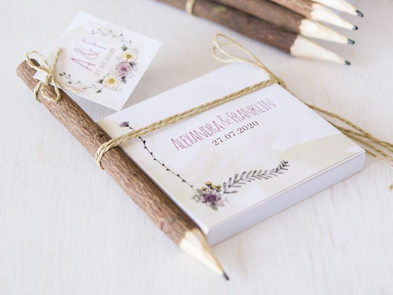 Rustic wooden pencils fall wedding favors
