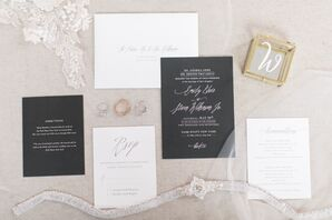 Classic Black and White Invitation Suite with Calligraphy