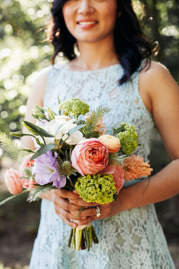 Colorful Bridesmaid Bouquet With Natural Greens