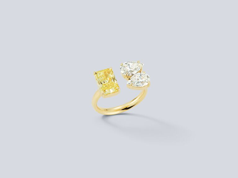 Radiant canary and double diamond pear open engagement ring