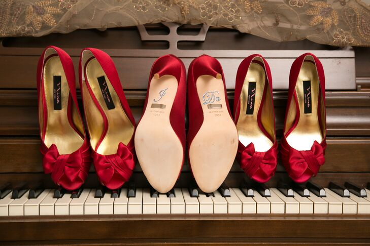 Roxanne wore bold red Badgley Mischka heels on her wedding day. Her bridesmaids also wore red heels with bows at the toe.
