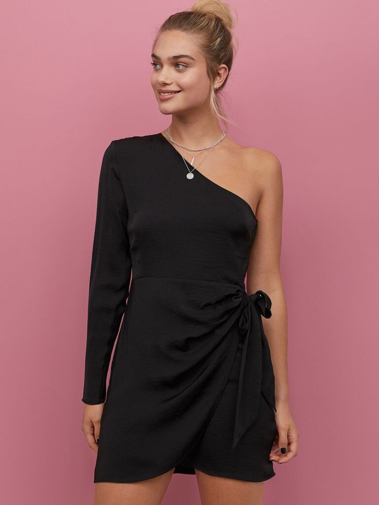 Black short one-shoulder winter wedding guest dress