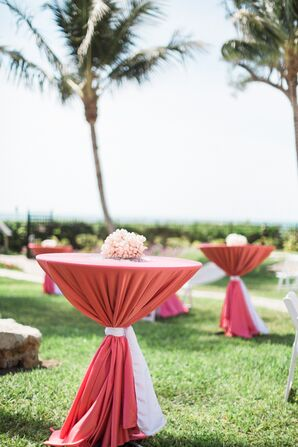 Coral Cocktail Table and Centerpieces