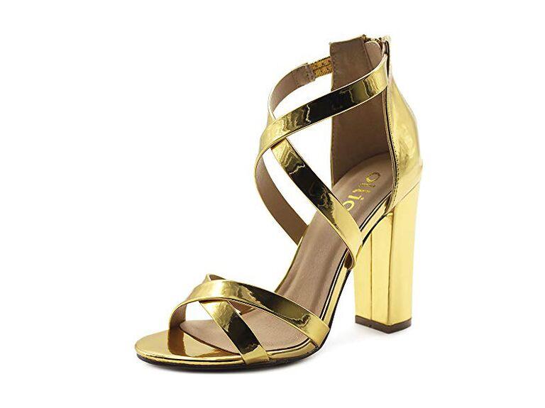 Ollio toe cross strap zip up high heels