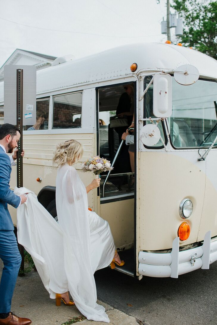 Whimsical Couple with Retro Bus Transportation