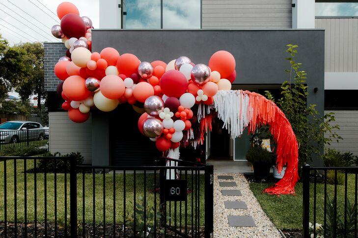 Orange Balloon Installation at Wedding in Australia