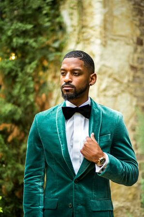 Groom in Emerald Velvet Tux for Wedding at Hidden Waters in Waxahachie, Texas