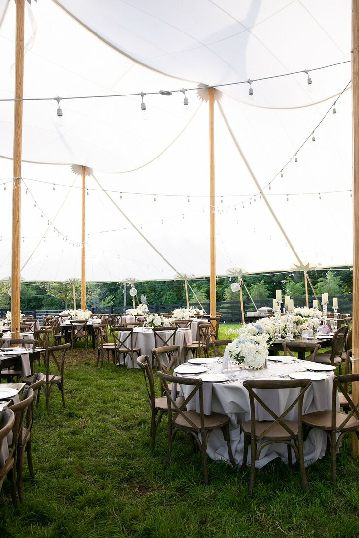 Natural Tented Reception with Round Tables, Cross-back Chairs and String Lights