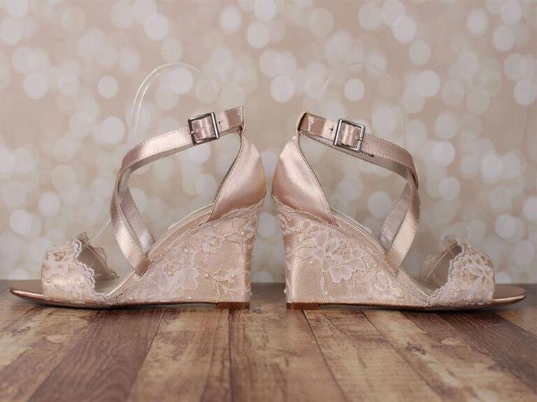 Ellie Wren custom lace champagne wedding wedges
