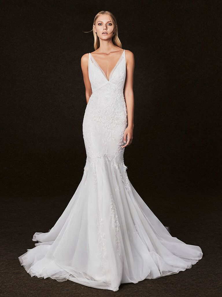 Victoria Kyriakides Fall 2017 v-neck wedding dress with fit-and-flare silhouette and floral applique detailing