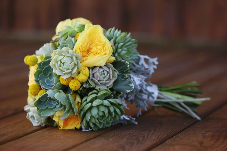 """For the flowers the main two I knew I wanted were billy balls and succulents,"" says Alyssa. ""I told the florist that I loved anything that had a cool texture or shape so the more unconventional flowers and plants the better!"""