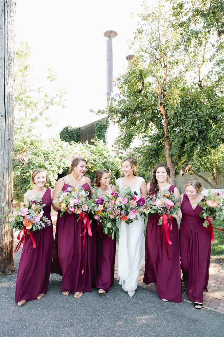 Long Wine-Colored  Bridesmaid Dresses