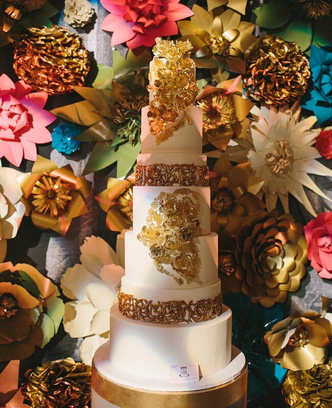 Gold Metallic Wedding Cake   Readyluck   Blog.TheKnot.com