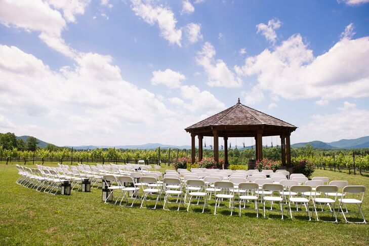 """We had romantic and natural DIY wedding with a splash of southern elegance,"" says Lisa-Michelle. ""We just wanted to make sure the gorgeous scenery of the vineyard was highlight of our decor."""