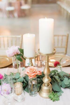 Elegant Gold Candlesticks and Eucalyptus Centerpiece