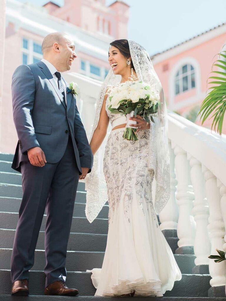 Bride wearing fit and flare custom lehenga