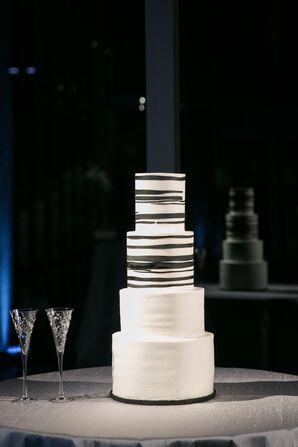 Black-and-White-Striped Wedding Cake