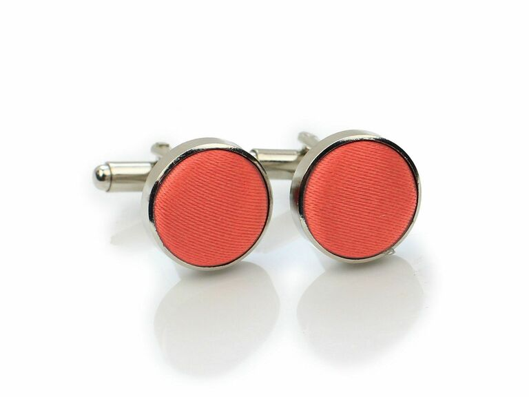 Set of vibrant coral cuff links