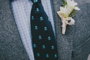 Navy and Light Blue Skull-and-Crossbones Tie