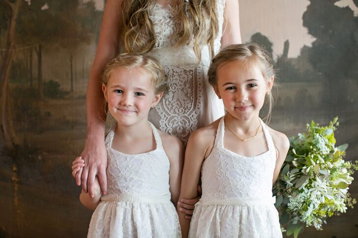 """Kate's nieces were the flower girls at the wedding. """"Their mother had a friend make their dresses to match mine,"""" Kate says. """"They were the prettiest little things I have ever seen."""""""