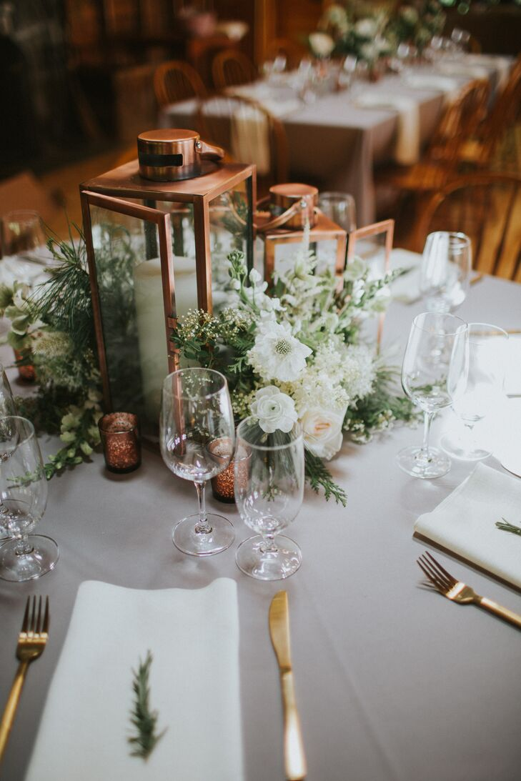 Copper Lantern and White Floral Centerpieces