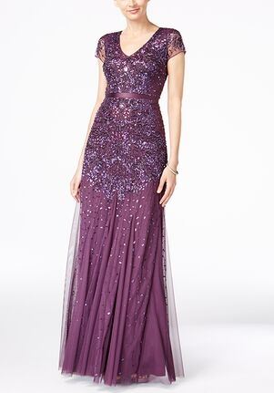 Adrianna Papell Adrianna Papell Cap-Sleeve Embellished Gown Scoop Bridesmaid Dress