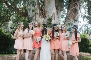 Short Coral Bridesmaid Dresses and Flower Crowns