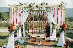 Mountainside Mandap with Colorful Red Marigolds