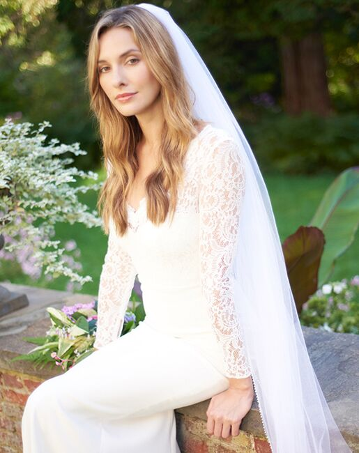 Dareth Colburn Simple Pearl Edge Wedding Veil (VB-5046) Ivory, White Veil