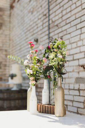 Colorful Wildflowers in Vintage Bottles