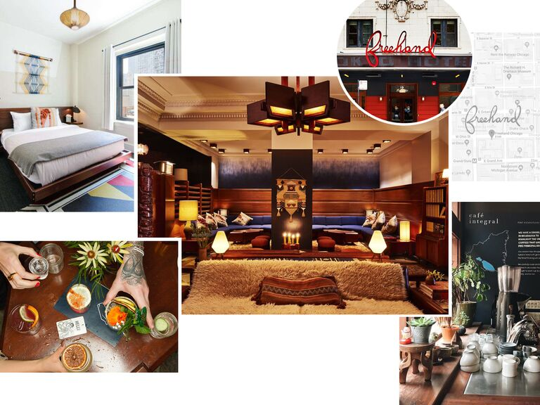 photo collage of the Freehand Hotel in Chicago, Illinois